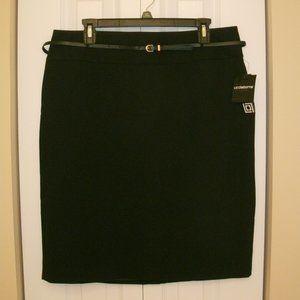 Liz Claiborne Black Belted Skirt, Above Knee sz 14